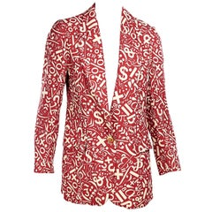 Cheap And Chic By Moschino Red And White Silk Printed Blazer