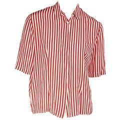 Chloe Red And White Cotton-Poplin Striped Top