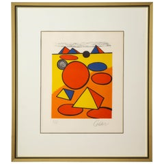 Red and Yellow Geometric Lithograph Print by Alexander Calder, Signed and Number