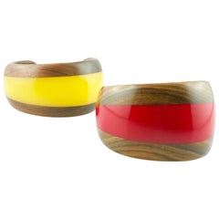 Red and Yellow Methacrylate Wood Cuff Bracelet