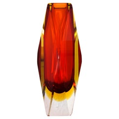 Red and Yellow Murano faceted Italian Modern Sommerso Glass Vase by Mandruzzato