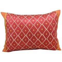 "Red and Yellow ""Phulkari"" Embroidery Silk Bolster Decorative Pillow"