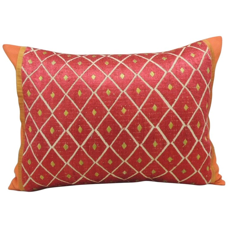 """Red and Yellow """"Phulkari"""" Embroidery Silk Bolster Decorative Pillow For Sale"""