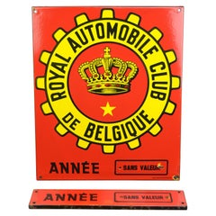 Red and Yellow Porcelain Royal Automobile Club Sign, Belgium, Mid-20th Century