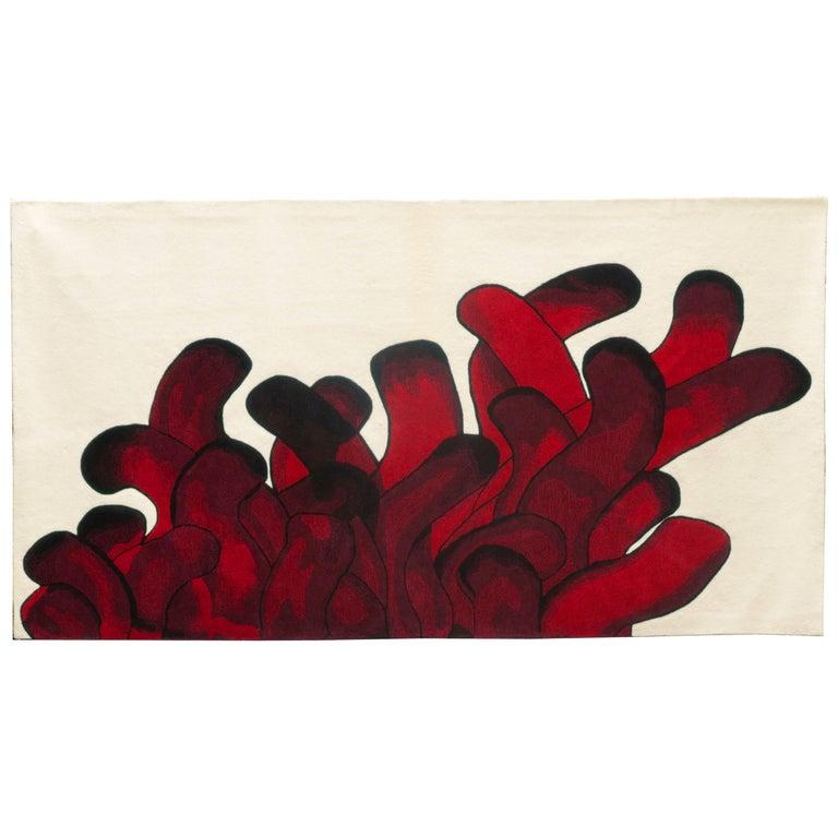Red Anémone Rug François Dumas For Sale