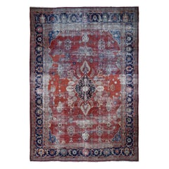 Red Antique and Worn Persian Mahal Hand Knotted Oriental Rug