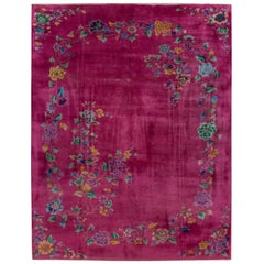 Red Antique Art Deco Chinese Handmade Floral Wool Rug