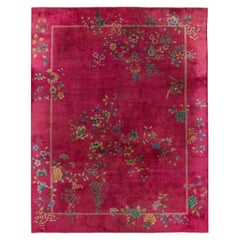Red Antique Art Deco Chinese Handmade Wool Rug