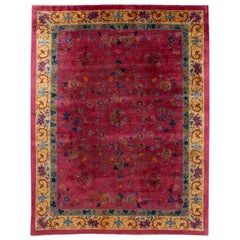 Red Antique Art Deco Room Size Chinese Wool Rug