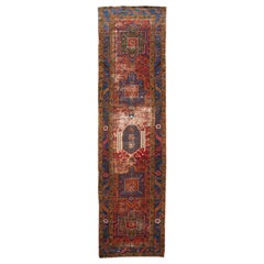 Red Antique Distressed Heriz Handmade Wool Runner