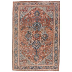 Red Antique Heriz Handmade Wool Rug