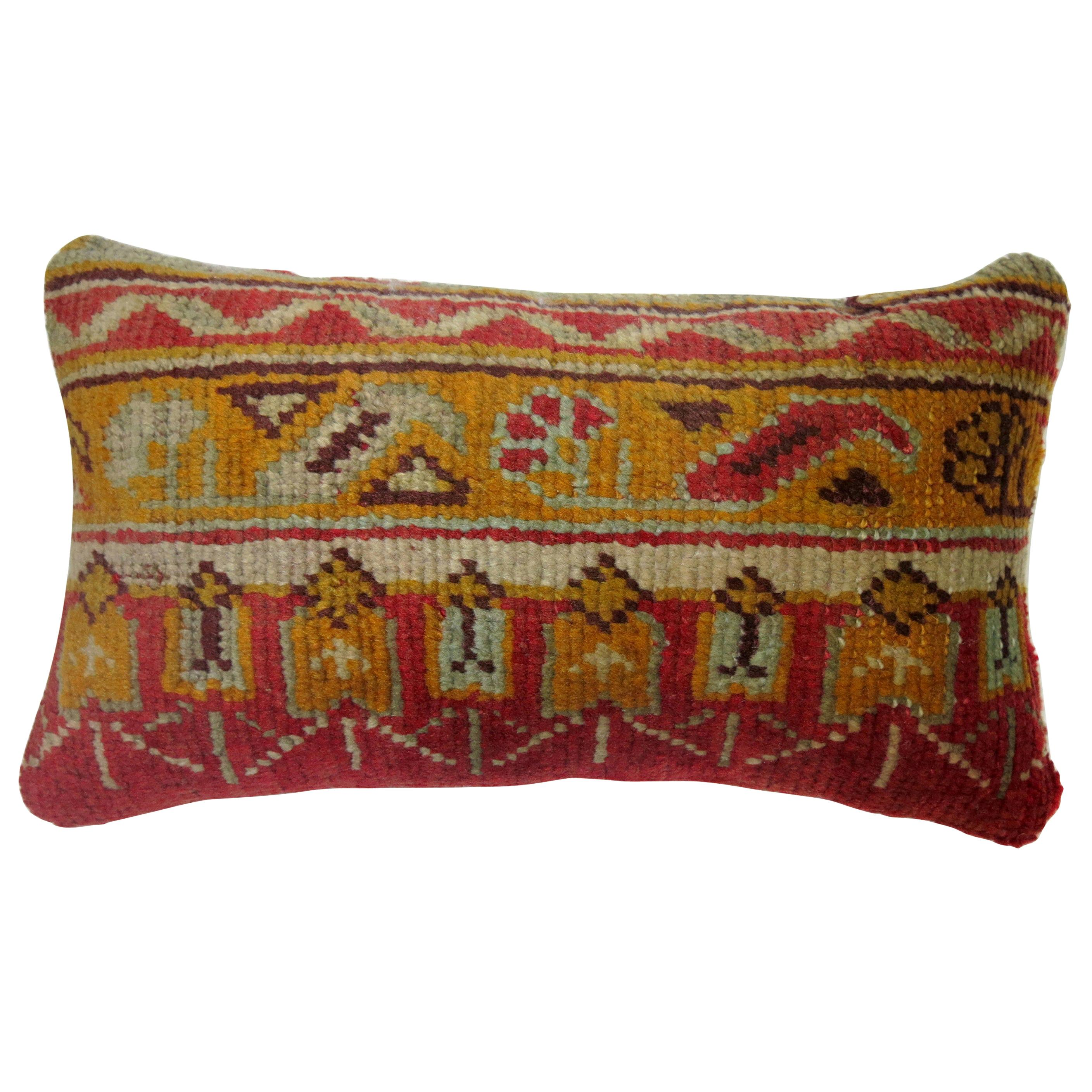 Red Antique Oushak 20th Century Bolster Size Rug Pillow