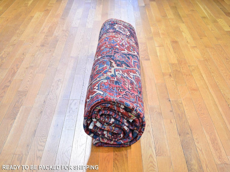 Red Antique Persian Heriz circa 1920, Good Condition Clean Hand Knotted  For Sale 2