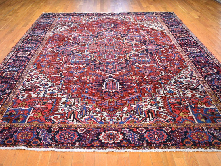 Medieval Red Antique Persian Heriz circa 1920, Good Condition Clean Hand Knotted  For Sale