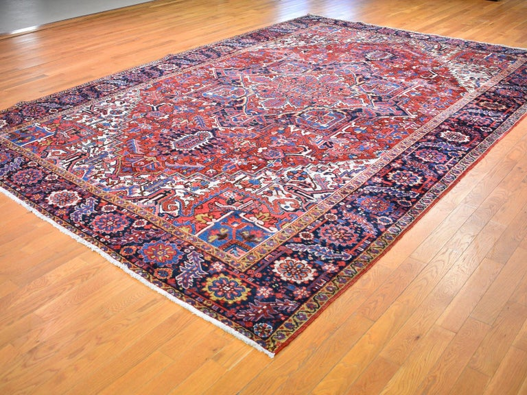 Asian Red Antique Persian Heriz circa 1920, Good Condition Clean Hand Knotted  For Sale