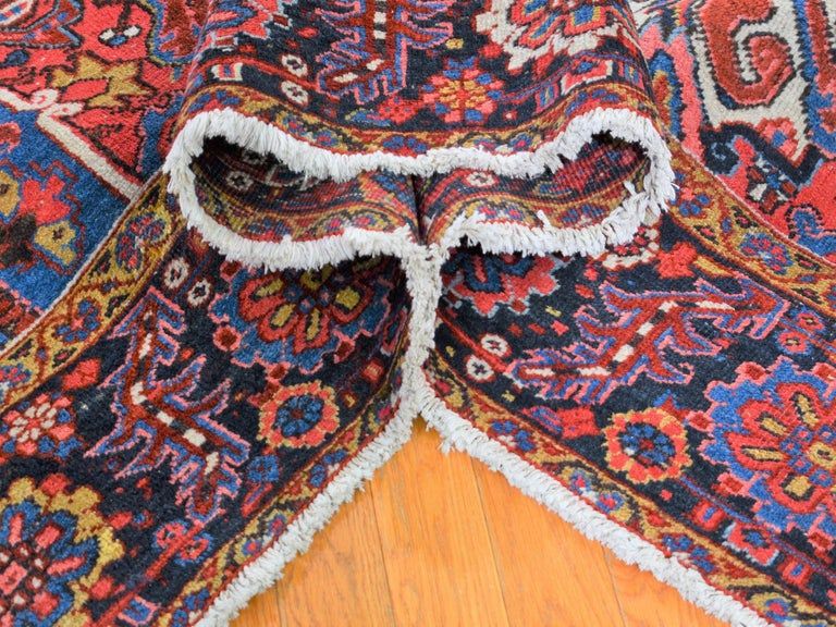 Red Antique Persian Heriz circa 1920, Good Condition Clean Hand Knotted  In Good Condition For Sale In Carlstadt, NJ