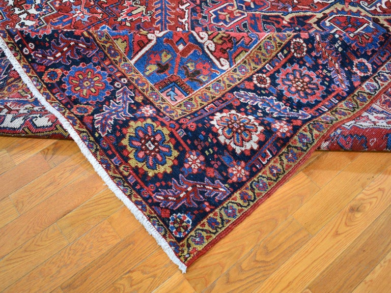 Early 20th Century Red Antique Persian Heriz circa 1920, Good Condition Clean Hand Knotted  For Sale