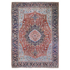 Red Antique Persian Heriz Flower Medallion Design Oriental Rug
