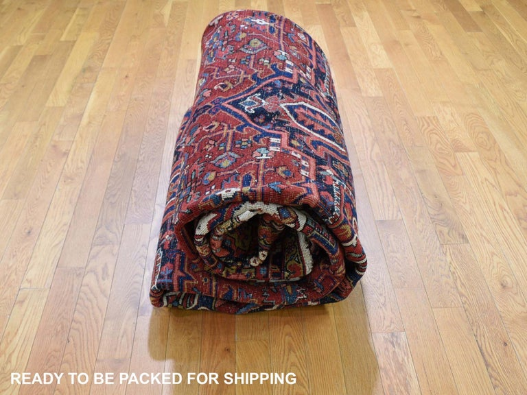 Red Antique Persian Heriz Full Pile Excellent Condition, Clean Hand knotted Rug For Sale 3
