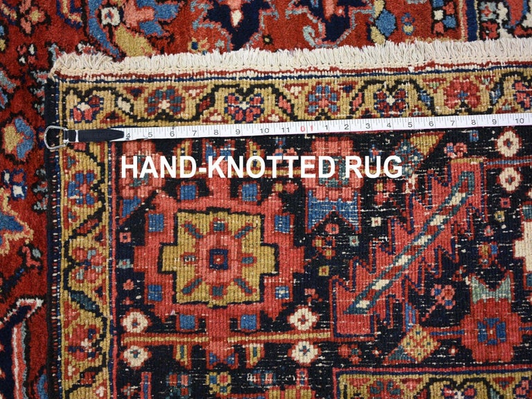 Red Antique Persian Heriz Full Pile Excellent Condition, Clean Hand knotted Rug For Sale 5