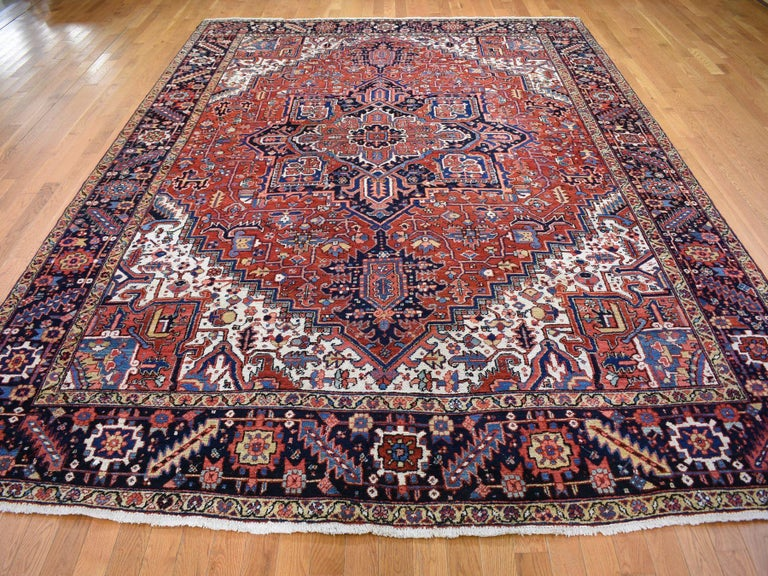Medieval Red Antique Persian Heriz Full Pile Excellent Condition, Clean Hand knotted Rug For Sale