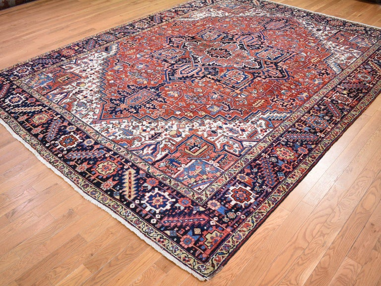 Hand-Knotted Red Antique Persian Heriz Full Pile Excellent Condition, Clean Hand knotted Rug For Sale