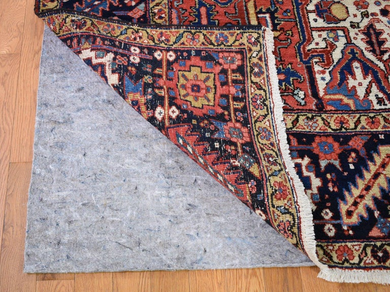 Red Antique Persian Heriz Full Pile Excellent Condition, Clean Hand knotted Rug In Good Condition For Sale In Carlstadt, NJ