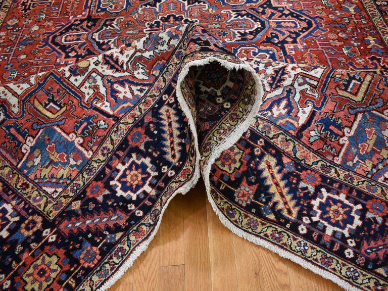 Mid-20th Century Red Antique Persian Heriz Full Pile Excellent Condition, Clean Hand knotted Rug For Sale