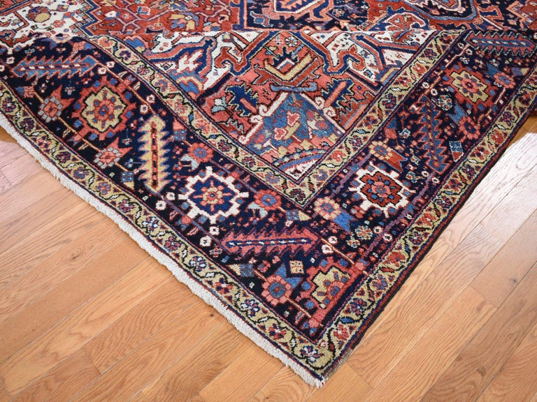 Wool Red Antique Persian Heriz Full Pile Excellent Condition, Clean Hand knotted Rug For Sale