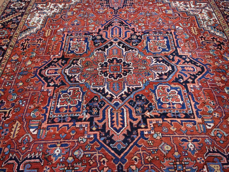Red Antique Persian Heriz Full Pile Excellent Condition, Clean Hand knotted Rug For Sale 2