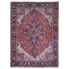 Red Antique Persian Heriz Full Pile Excellent Condition, Clean Hand knotted Rug