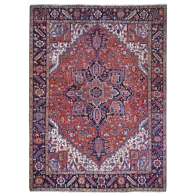 Red Antique Persian Heriz Full Pile Excellent Condition, Clean Hand knotted Rug For Sale