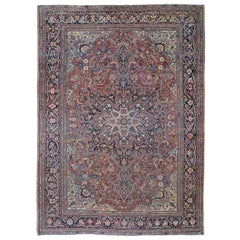 Red Antique Persian Sarouk Fereghan Evern Wear, Soft Hand Knotted Oriental Rug