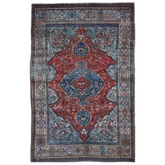 Red Antique Persian Sarouk Fereghan Good Condition Hand Knotted Oriental Rug