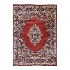 Red Antique Persian Sarouk Open Field, Wool Full Pile Hand Knotted Oriental Rug