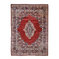 Red Antique Persian Sarouk Pure Wool Full Pile Hand Knotted Oriental Rug
