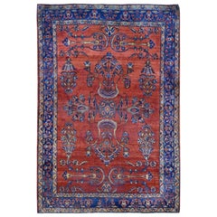 """Red Antique Persian Sarouk Some Wear Hand Knotted Oriental Rug , 4'3"""" x 6'3"""""""