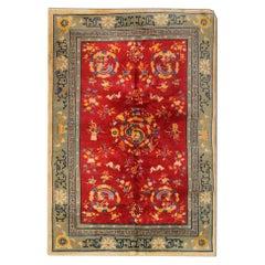 Red Antique Rug, Art Deco Vintage Rug Oriental Handmade Carpet Chinese Rugs