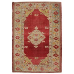 Red Antique Rug Borlou Turkish Rug, Handwoven Carpet, Wool Oriental Rug