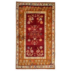 Red Antique Rug, Konya Turkish Carpet Oriental Rug, Geometric Patterned Rug