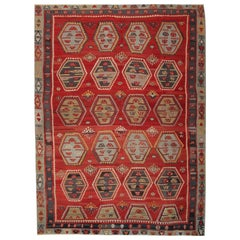 Red Antique Rugs, Handmade Carpet Turkish Kilim Rug, Sarkisla Oriental Rug