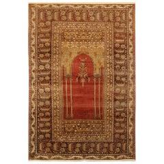 Red Antique Rugs, Traditional Carpet Turkish Rug, Mihrabi Prayer Living Room Rug