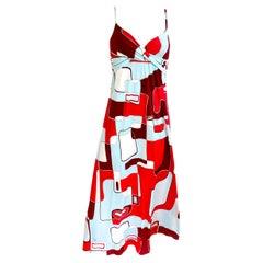 Red aqua print silk jersey boho maxi dress BRIE by Flora Kung