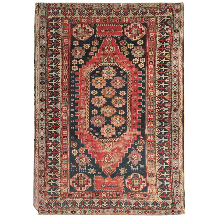 Red Area Rugs for Sale, Antique Rugs Caucasian Carpet, Wool Living Room Rugs