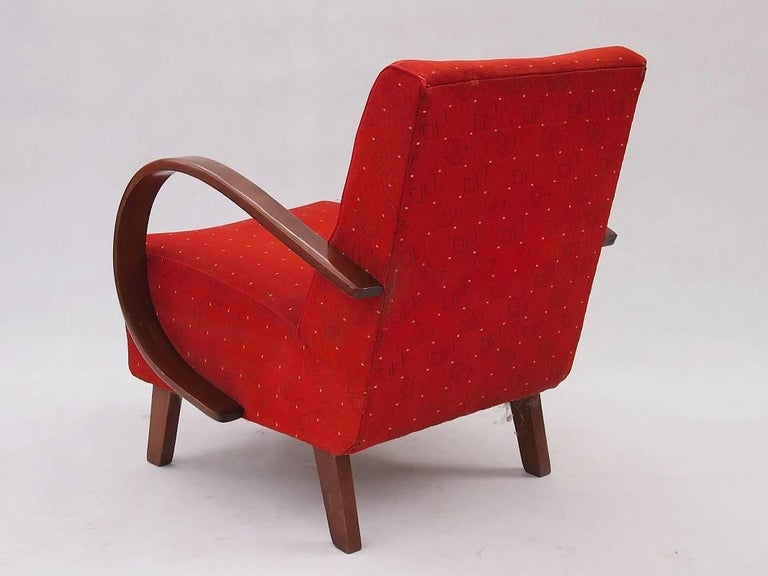 Red Armchair by Jindrich Halabala for UP Zavody, 1930s For ...