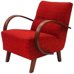 Red Armchair by Jindrich Halabala for UP Zavody, 1930s
