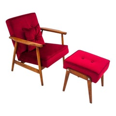Red Armchair with Footrest, Poland, 1960s