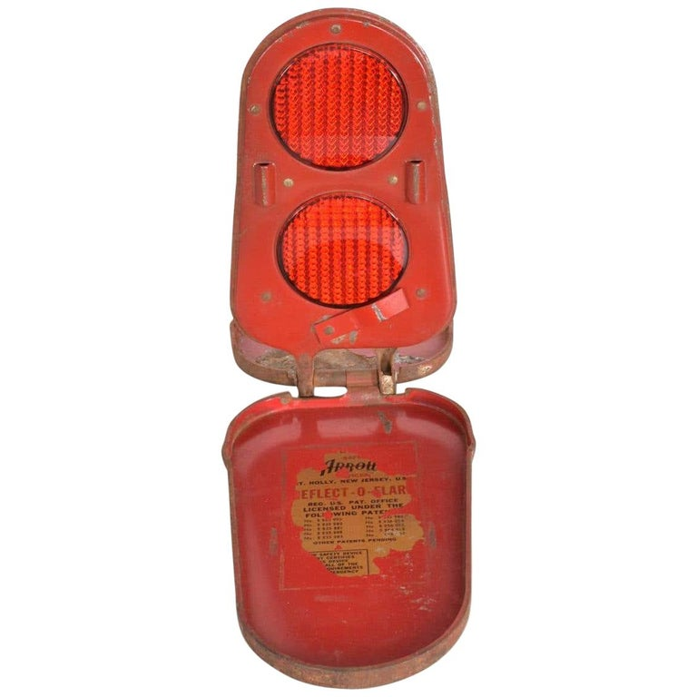 Red Arrow Reflect O Flare Light Vintage Car Safety Device Compact Road Hazard For Sale