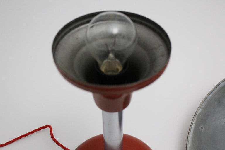 Red Art Deco Bauhaus Era Vintage Metal Desk Lamp by Max Schumacher 1934 Germany For Sale 8