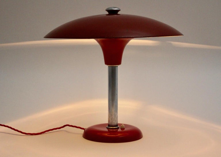 Red Art Deco Bauhaus Era Vintage Metal Desk Lamp by Max Schumacher 1934 Germany For Sale 1